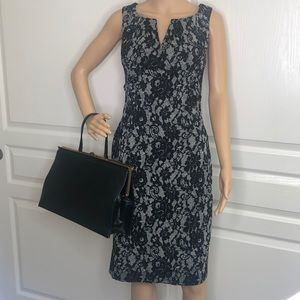 Adrianna Papell  Lace Overlay Look Dress Size 8